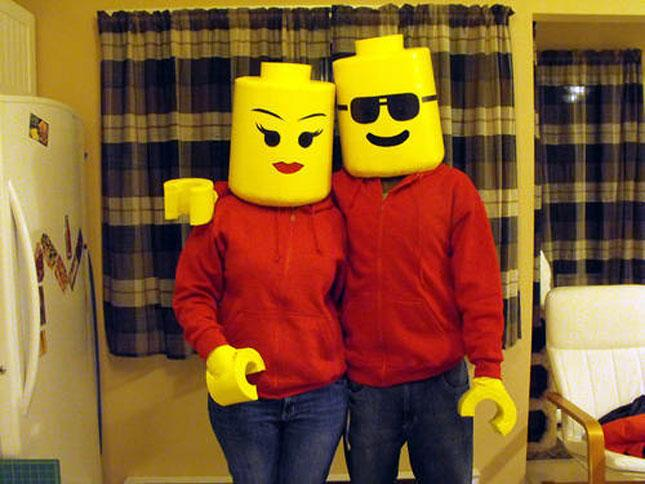 trick or treating might be reserved for the kiddos on halloween but legos arent this costume isnt easy to make but you can go in together when you buy