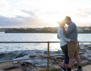 Mature embracing Bondi Australia